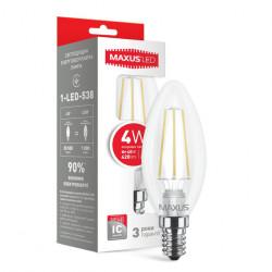 LED лампа MAXUS филамент, C37, 4W, 4100К,E14 (1-LED-538)