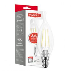 LED лампа MAXUS филамент, C37 TL, 4W, 4100К,E14 (1-LED-540)