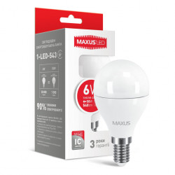 LED лампа MAXUS G45 6W 3000К 220V E14 (1-LED-543)