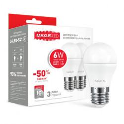 Набор LED ламп MAXUS G45 6W 3000К 220V E27 2 шт. (2-LED-541)