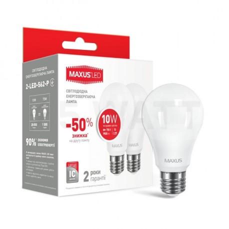 Набор LED ламп MAXUS A60 10W 4100К 220V E27 2 шт. (2-LED-562-P)