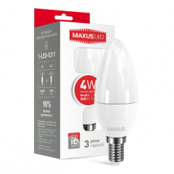 LED лампа MAXUS C37 CL-F 4W 3000К 220V E14 (1-LED-5311)
