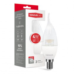 LED лампа MAXUS C37 CL-T 4W 4100К 220V E14 (1-LED-5316)