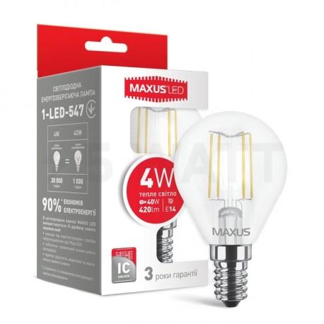 LED лампа MAXUS филамент, G45, 4W, 3000К,E14 (1-LED-547) - купить