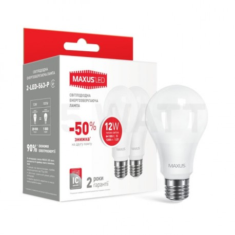 Набор LED ламп MAXUS A65 12W 3000К 220V E27 2 шт. (2-LED-563-P) - купить