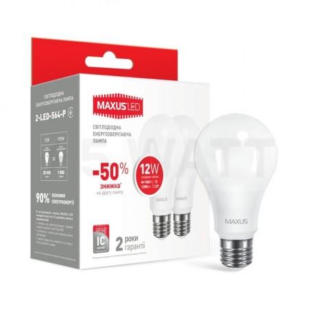 Набір LED ламп MAXUS A65 12W 4100К 220V E27 2 шт. (2-LED-564-01) - придбати