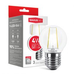 LED лампа MAXUS филамент, G45, 4W, яркий свет,E27 (1-LED-546)