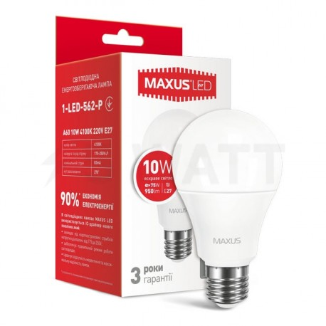 LED лампа MAXUS A60 10W 4100К 220V E27 (1-LED-562-P)
