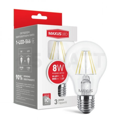LED лампа MAXUS філамент, А60, 8W, 4100К,E27 (1-LED-566) - придбати