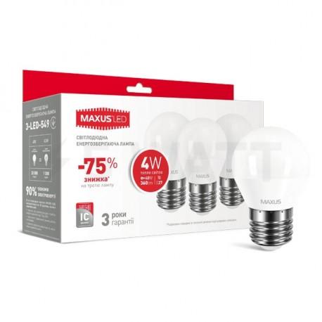 Набор LED ламп MAXUS G45 F 4W 3000К 220V E27 3 шт. (3-LED-549) - купить