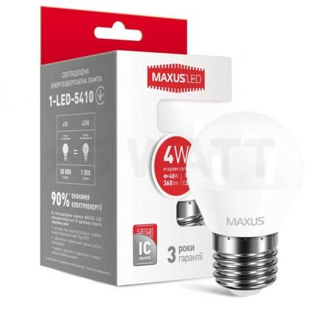 LED лампа MAXUS G45 F 4W 4100К 220V E27 (1-LED-5410) - купить