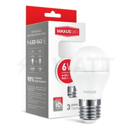 LED лампа MAXUS G45 6W 4100К 220V E27 (1-LED-542) - купить