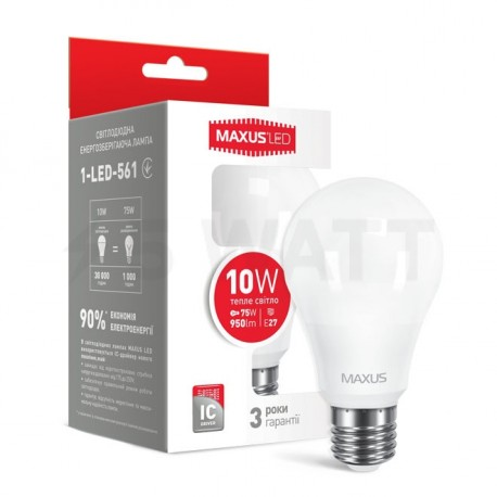 LED лампа MAXUS A60 10W 3000К 220V E27 (1-LED-561) - купить