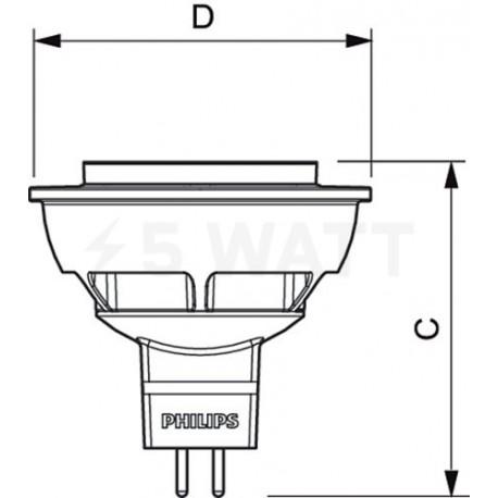 LED лампа PHILIPS Essential LED MR16 5-50W GU5.3 2700K 24D (929001240108) - недорого
