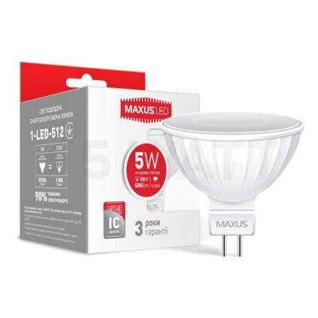 LED лампа MAXUS MR16 5W 4100К 220V GU5.3 AP (1-LED-512) - придбати