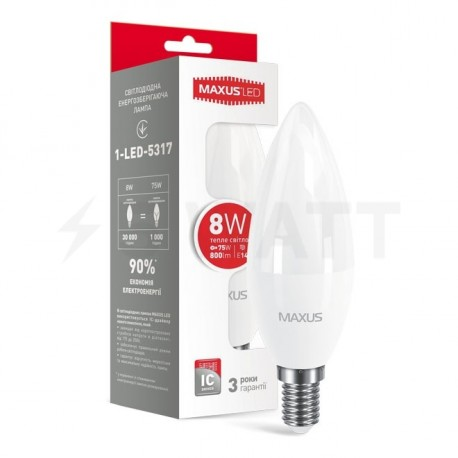 LED лампа MAXUS C37 CL-F 8W 3000K 220V E14 (1-LED-5317) - купить