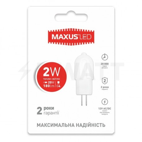 LED лампа MAXUS G4 2W 3000K 12V AC/DC (1-LED-207) - купить