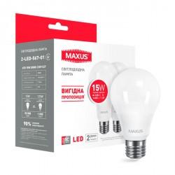 Набор LED ламп MAXUS A70 15W 3000K E27 2 шт. (2-LED-567-01)