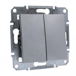 """Выключатель 2-кл. внутр. проходной Schneider""""ASFORA"""" алюминий (EPH0600161)"""