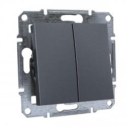 """Выключатель 2-кл. внутр. проходной Schneider""""ASFORA"""" сталь (EPH0600162)"""