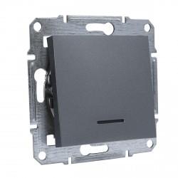 """Выключатель 1-кл. внутр. с подсвет. Schneider""""ASFORA"""" сталь (EPH1400162)"""
