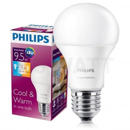 LED лампа PHILIPS Scene Switch LED A60 9,5-60W E27 3000/6500K (929001155937) - недорого