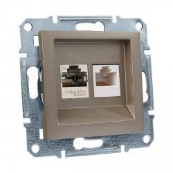 "Розетка комп.+ телеф. внутр. Schneider""ASFORA"" бронза (EPH4900169)"