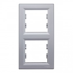"Рамка 2-х кратная вертикальная Schneider""ASFORA"" алюминий (EPH5810261)"