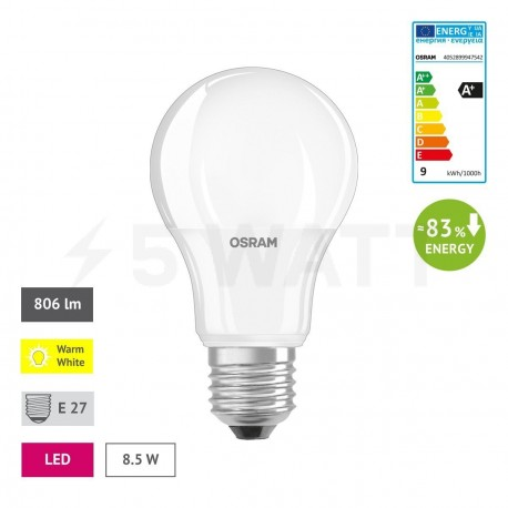 LED лампа OSRAM LED Star Classic A60 10W E27 2700K FR 220-240V(4052899947542) - недорого
