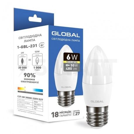 LED лампа GLOBAL C37 CL-F 6W 3000K 220V E27 (1-GBL-231) - купить