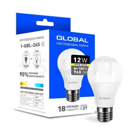 LED лампа GLOBAL A60 12W 3000K 220V E27 (1-GBL-265) - придбати