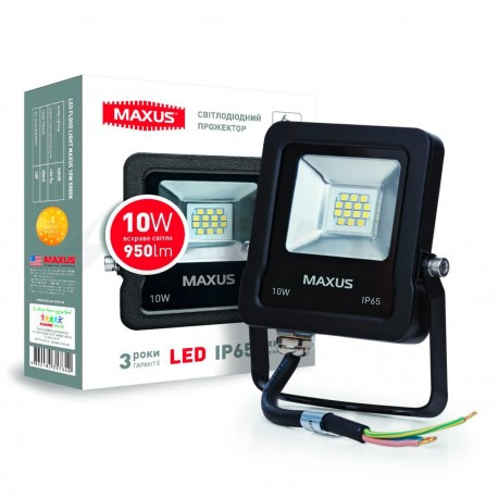 Прожектор LED MAXUS FLOOD LIGHT 10W, 5000K(1-MAX-01-LFL-1050)