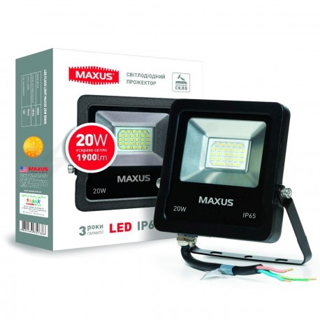 Прожектор LED MAXUS FLOOD LIGHT 20W, 5000K(1-MAX-01-LFL-2050)