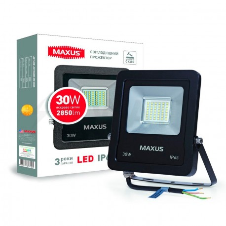 Прожектор LED MAXUS FLOOD LIGHT 30W, 5000K(1-MAX-01-LFL-3050)