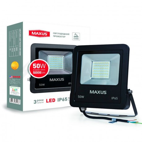 Прожектор LED MAXUS FLOOD LIGHT 50W, 5000K(1-MAX-01-LFL-5050)