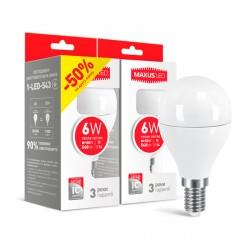 Набор LED ламп MAXUS G45 F 6W 3000K 220V E14 2шт.(2-LED-543)