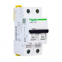 Автоматический выключатель Schneider 2-п. IC60N 16А C (6кА) (A9F79216)