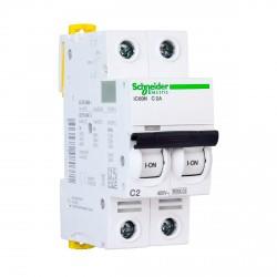 Автоматический выключатель Schneider 2-п. IC60N 2А С (6кА) (A9F74202)