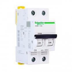 Автоматический выключатель Schneider 2-п. IC60N 6А С (6кА) (A9F79206)