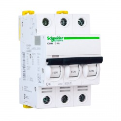 Автоматический выключатель Schneider 3-п. IC60N 4А С (6кА) (A9F74304)