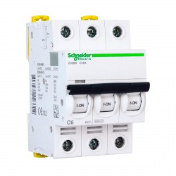 Автоматический выключатель Schneider 3-п. IC60N 6А C (6кА) (A9F79306)