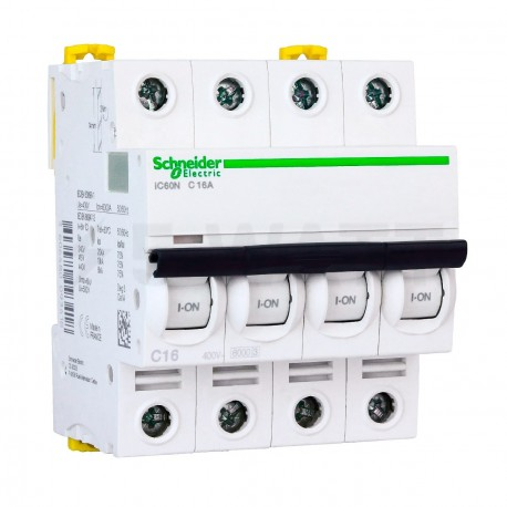 Автоматический выключатель Schneider 4-п. IC60N 16А C (6кА) (A9F79416) - купить