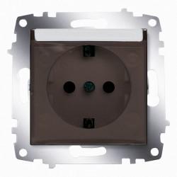 Розетка с заз. и крышкой ABB Cosmo алюминий (619-011000-218)