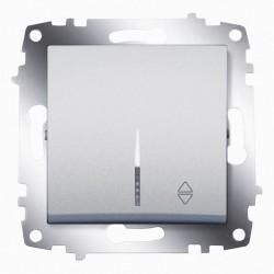 Выключатель 1-кл. унив. с подсв. ABB Cosmo алюминий (619-011000-210)