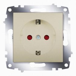Розетка с заз. со шторками ABB Cosmo титан (619-011400-243)