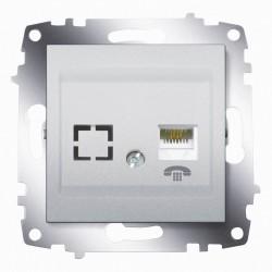 Розетка ТФ один. ABB Cosmo алюминий (619-011000-221)