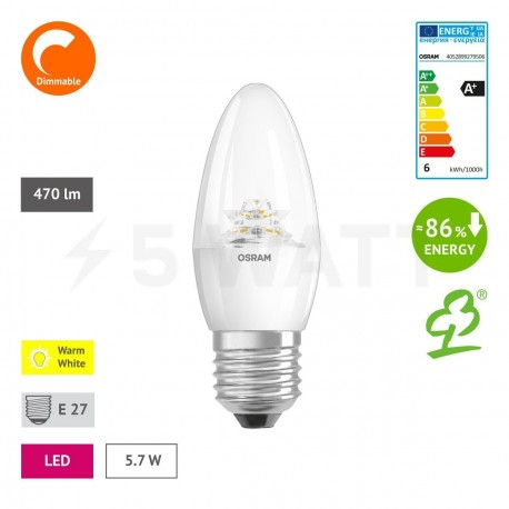 LED лампа OSRAM LED Super Star Classic B40 5,7W E27 2700K CL DIM 220-240V(4052899279506) - недорого
