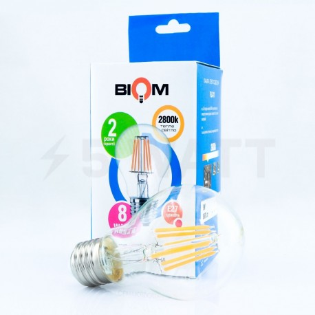 Светодиодная лампа Biom FL-311 A60 8W E27 3000K - в Украине