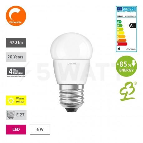 LED лампа OSRAM LED Super Star Classic P40 6,5W E27 2700K FR DIM 220-240V(4052899900912) - в Україні