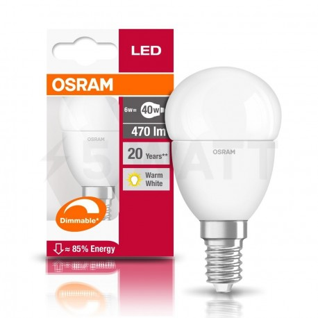 LED лампа OSRAM LED Super Star Classic P40 5W E14 2700K FR DIM 220-240V(4052899900905) - в Україні